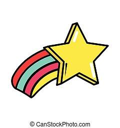 pop, tir, art, style, arc-en-ciel, comique, plat, étoile, icône