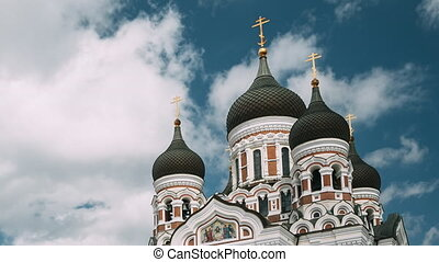 populaire, destination, estonia., orthodoxe, repère, célèbre, scenic., nevsky, cathedral., alexandre, héritage, tallinn, mondiale, site., unesco