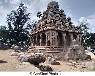 populaire, mahabalipuram, structure, architectural