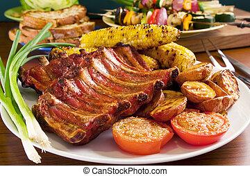porc, légumes, grillé, côtes