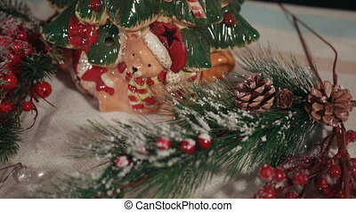 porcelaine, arbre, cones., babioles, noël, pin, étoile, peint