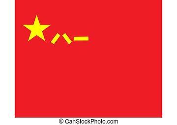 porcelaine, militaire, (pla), libération, gens, chinois, armée, drapeau