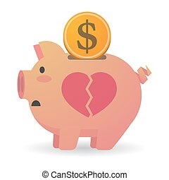 porcin, coeur, isolé, banque, cassé