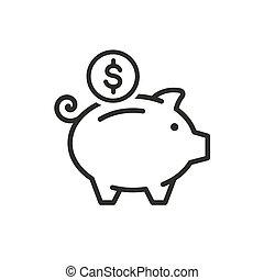 porcin, icône, banque, vecteur