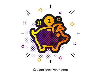 porcin, icon., vecteur, économie, banque, argent, signe.
