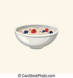 porridge, plat, myrtilles, sain, raspberries., recette, flocons avoine, illustration, nourriture., vecteur, conception, book., délicieux, frais, dessin animé, bol, breakfast., savoureux