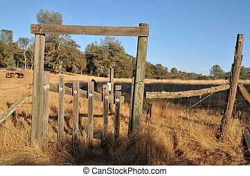 porté, barrière, portail, champ