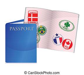 porté, ouvert, nous, passeport
