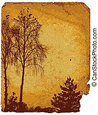 porté, vieux, carte, paysage