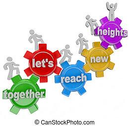 portée, ensemble, hauteurs, laissons, engrenages, équipe, nouveau