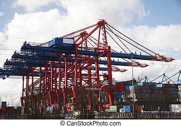 port, (a), -, atterrissage, allemagne, hambourg, grue, étape