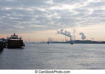 port, commencement matin, rotterdam, hollandais