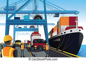 port, expédition, scène