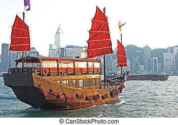port, hong, voilier, kong