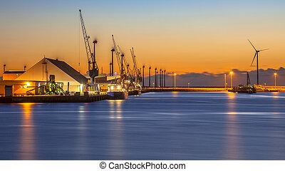 port, industriel, scène, nuit