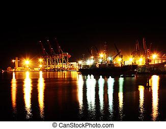 port, mer, nuit