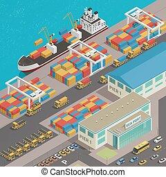 port, péniche, quai, fret, isométrique