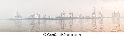 port, panorama, terminal, brume, matin