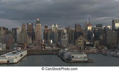 port, sur, 1, nuages, partie, york, nouveau
