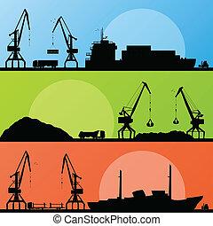 port, transport industriel, bateaux, vecteur, rivage, grue, paysage