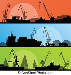 port, transport industriel, illustration, bateaux, vecteur, rivage, collection, fond, silhouette, grue, paysage