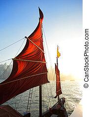 port, voilier, hong, drapeau, kong