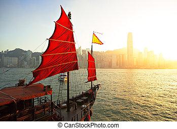 port, voilier, hong kong