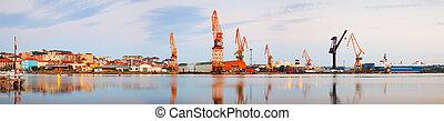 port, vue panoramique, industriel