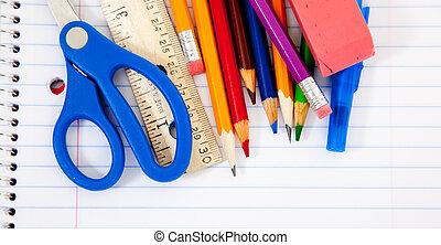 portables, fournitures, assorti, école