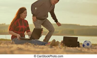 portables, ralenti, sable, nuit vidéo, girl, homme