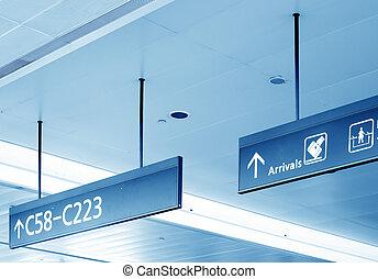 portail, aéroport, signe