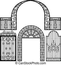 portail, entrée, porte, barrière, vendange