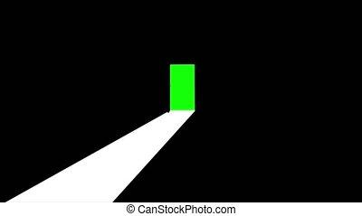 porte, écran, il, derrière, vert, ouvre