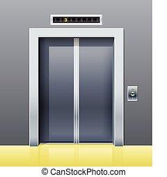 porte, ascenseur, fermé