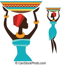 porte, basket., silhouette, girl, africaine
