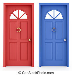 porte, bleu, rouges, entrée