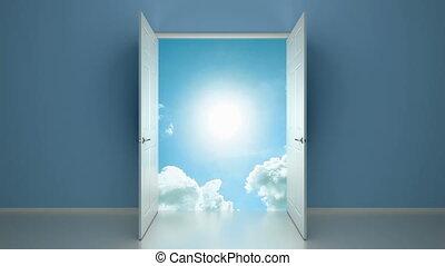 porte, ciel