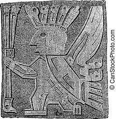 porte, engraving., vendange, pérou, monolithe, détails, tiahuanaco