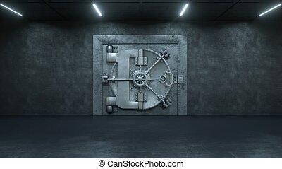 porte, fond, ouverture, argent, vert, lot, voûte, banque