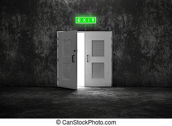 porte, gris, sortie, fond, blanc, ouvert