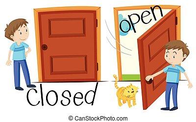 porte, homme, ouvert, fermé