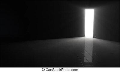 porte, illustration., ouverture, lumière, briller, clair, sombre, dans., fond, 3d, salle