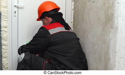 porte, installs, ouvrier, plastique, pvc, construction, maison, nouveau, blanc, rénovation