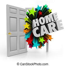 porte, maison, thérapie, traitement, calorie, hospice, maison, physique, ouvert, soin