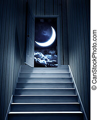 porte, mener, sombre, étapes, sous-sol, ouvert