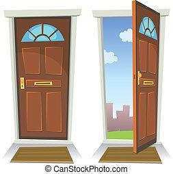porte, ouvert, dessin animé, fermé, rouges