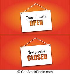 porte ouverte, planche, signes fermés