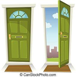 porte ouverte, vert, dessin animé, fermé