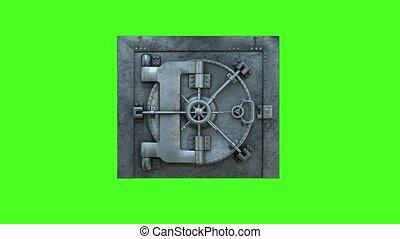 porte, ouverture, arrière-plan vert, voûte, banque