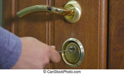 porte, ouvrir, fermer clef, main, clã©, ou